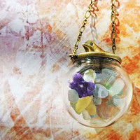 10% SALE Necklace Birds and Flowers Natural Gravel Glass Bead Orb Easter