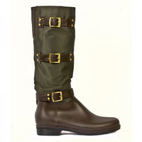 dav Ladies Olive/Brown Nylon Rain Boots  and Rain and Muck Boots  | EQUESTRIAN COLLECTIONS.COM