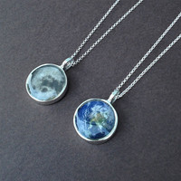 moon or earth resin pendant sterling silver necklace gift for her