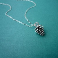 petite pine cone necklace in sterling silver gift for her