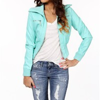 Mint Faux Leather Jacket