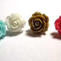 "1 Rose Stud Earring to Match my ""Roses are ..."" Conch Cuffs Wedding Prom Bridal 1 earring"