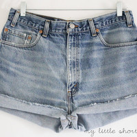 High Waisted Denim Levi&#x27;s Shorts by MyLittleShortShop on Etsy
