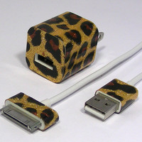 iPhone 4 Leopard Glitter charger (iPhone 5 or matching cases available)