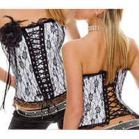 Sexy Attractive White And Black Floral Lace Chinese Costume Materail Corset [TML0445] - &amp;#36;45.00 : Zentai, Sexy Lingerie, Zentai Suit, Chemise