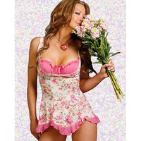 Attractive Floral Satin Chemise [TML0140] - &amp;#36;25.00 : Zentai, Sexy Lingerie, Zentai Suit, Chemise