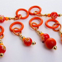 juicy orange mille fiore stitch markers knitting by DoubleHalo