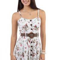 floral printed corset style belted casual dress - debshops.com