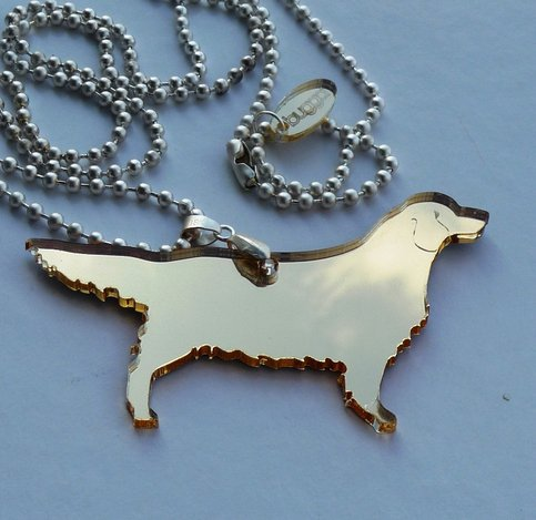 Product - Golden Retriever Necklace Plexiglass Jewelry,Lasercut Acrylic,Gifts Under 25 by bugga · Storenvy
