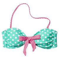 Xhilaration Junior&#x27;s Bandeau Swim Top -Polka Dot Print