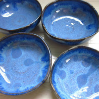 $30.00 4 blue miniature salt cellars bowls tea light by JDWolfePottery