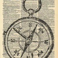 Vintage Dictionary Print Compass Upcycled by missquitecontrary