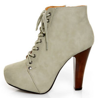 Qupid Puffin 06 Grey Lace-Up Booties - $47.00