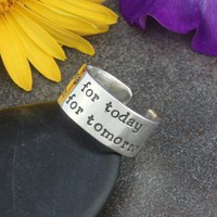 Hand Stamped Sterling Silver Adjustable Ring by AlaiynaBDesigns