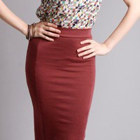 Pomegranate Pencil Skirt in  Bottoms at Frock Candy
