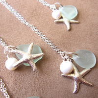 Seafoam beachglass starfish necklace with fresh by SeaglassGallery