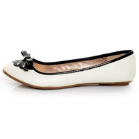 Qupid Thesis 168 White Scalloped Bow Ballet Flats - &amp;#36;25.00