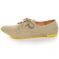 Qupid Salya 565 Beige Nubuck Neon Sole Oxfords - $27.00