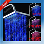 Three Colors LED Light Square Rain Top Shower Head Bathroom Bath Glow B1 S0BZ