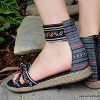 Earthy Hmong Embroidered Vegan Gladiator Sandal