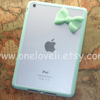 iPad mini case,Leopard Decal ipad case,cheetah iphone 5 case with pastel mint green bow ipad case, mint green ipad cover