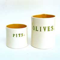 olives and pits    hand built porcelain containers   by clayswan