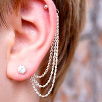Triple Cartilage Chain on Earring Backs - Silver