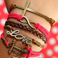Love Bracelet, Cross Bracelet, Infinity Karma Bracelet, Anchor Bracelet, Rose Red Flocking Leather Bracelet, Brown Braided Leather Bracelet