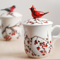 Hand Painted Tea Cup  Love Birds Red Cardinal by yevgenia on Etsy