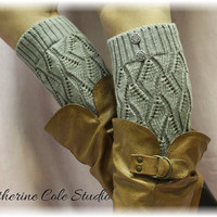 SILVER GREY Open crochet knit leg warmers  LW18 / womens  knit pattern  great with cowboy boots by Catherine Cole Studio legwarmers