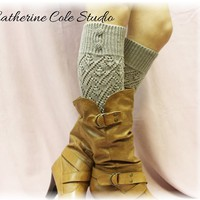 LW28 Grey Pointelle patterned legwarmers for women