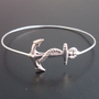 Nautical Anchor Bracelet Silver Anchor Bangle by FrostedWillow