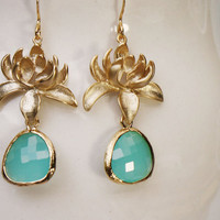 Lotus flower earrings Gold and aqua earrings with by GojoDesign