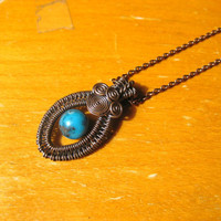Genuine Turquoise & Antiqued Copper Necklace by alyshabushey