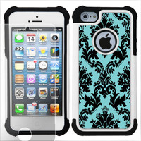 2-Layer Hybrid Case + SCREEN PROTECTOR for Apple iPhone 5 (Victorian Bk/Blue) TD
