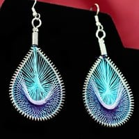 Native Style Woven Thread & Silver Earrings