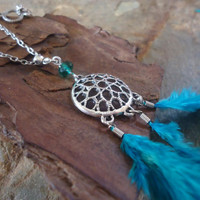 DREAM CATCHER with crystal &amp; FEATHERS long chain by AsaiBolivien 10,90 $