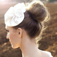 BUY 1 GET 1 SALE - French Hat - ivory bridal headpiece with
