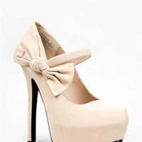 NEW Women Side Bow Faux Suede Mary Jane Platform Pump Heel Beige sz Nude Oscar26