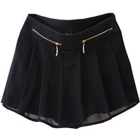 ROMWE | Chiffon Montage Black Shorts Skirt, The Latest Street Fashion