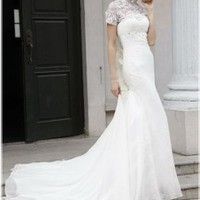 Lacy Mock Turtleneck Elegant Modest Wedding Dress with Train