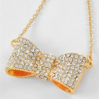 Pretty Gold Bow Necklace