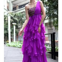 Purple Tiered One Shoulder Prom Dress