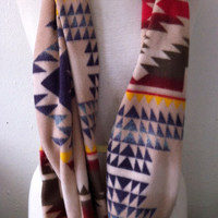 Soft Tan Navy Blue Red Native American Southwest Pendleton Inspired Fleece Infinity Cowl Scarf
