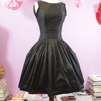 Black Silk Taffeta Bow Back Cocktail Dress - Made to Order