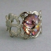 Amethyst Opal Adjustable Ring by pinkingedgedesigns on Etsy