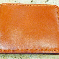 sunset orange leather man's wallet  handmade