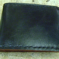 soft black leather man's wallet  handmade