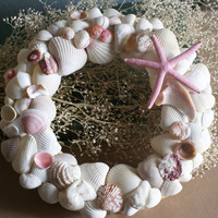 Seashell wreath in pink and white by JustShellin on Etsy