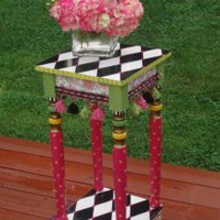 EcoVolveNow Hand Painted Accent Table - Harlequin